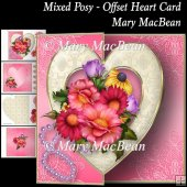 Mixed Posy - Offset Heart Card