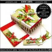 "Xmas Fashion: Boot Mini ""Shoebox"" Notelets & Envelopes"