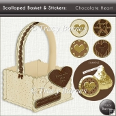 Scalloped Basket & Stickers: Chocolate Heart