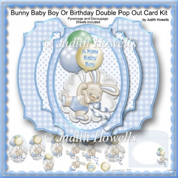 Bunny Baby Boy Or Birthday Double Pop Out Card Kit