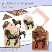 Set Of Two Horse Tag Shaped Easel Cards