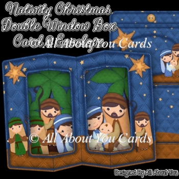 Nativity Christmas Double Window Box Card
