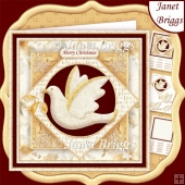 GOLD & WHITE CHRISTMAS DOVE 7.5 Decoupage & Insert Mini Kit
