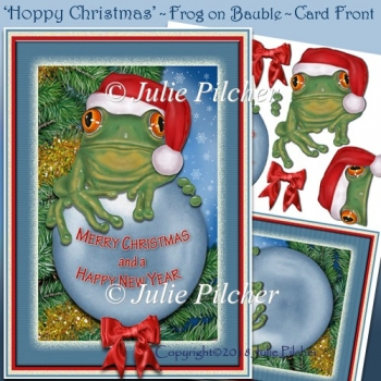 Hoppy Christmas ~ Frog on a Bauble wearing Santa Hat Card Front