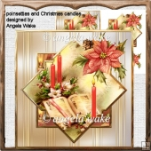 poinsettias and Christmas candles card with decoupage