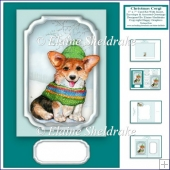5 x 7 Christmas Corgi Puppy Dog Card Kit + Insert, Enveleop Tags