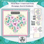 Floral Heart 7.5 Card Front, Decoupage, Insert, Sentiments no.4