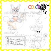 Girl Bunny in a Shell and Sentiment Digital Stamps