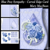 Blue Posy Sympathy - Curved Edge Card