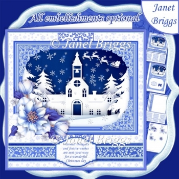 CHURCH ON CHRISTMAS EVE 7.8 Quick Layer Card or Decoupage Kit