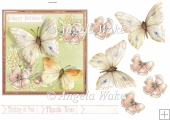 butterfly and flowers 6x6 card