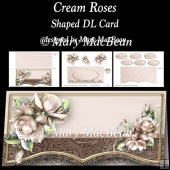 Cream Roses - Shaped DL Card