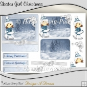 Skater Girl Christmas Card Front/Topper