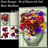 Pansy Bouquet - Pot of Flowers A4 Card