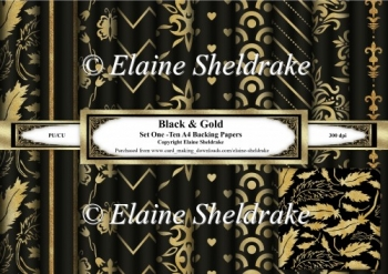 Black & Gold - Set One - Ten A4 Backing Papers