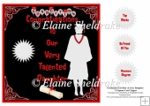 Graduation Daughter, Grey Gown, Red Sash 7.5 x 7.5 Card Topper