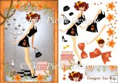 Fashionista! in Black and Orange Card Front and Decoupage