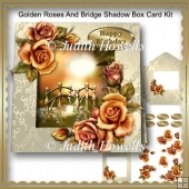 Golden Roses And Bridge Shadow Box Card Kit