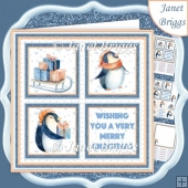 CHRISTMAS PENGUIN SQUARES 7.5 Quick Layer Card & Insert