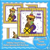 Birthday Benny 2 Corner Scallop Pyramage 6x6 Card Front