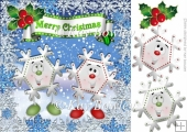 Dancing toony snowflakes with holly 8x8