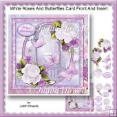 White Roses And Butterflies Card Front And Insert