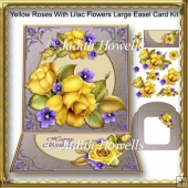 Yellow Roses With Lilac Flowers Large Easel Card Kit