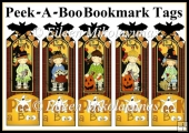 Peek-A-Boo Halloween Bookmark Tag Set