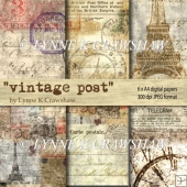 VINTAGE POST - 6 x A4 digital printable papers