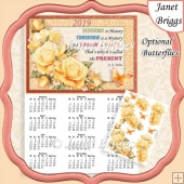 YELLOW ROSES 2019 A4 Calendar with Decoupage Mini Kit