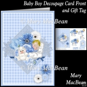 Baby Boy Decoupage Card Front and Gift Tag