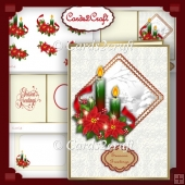 Poinsettia and candles Christmas card set