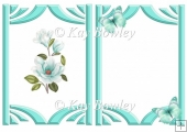 pretty turq magnolias with butterflies A5 insert