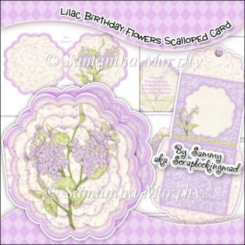 ... Cards & Card Kits :: Lilac Birthday Flowers Scallop