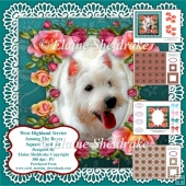 West Highland Terrier Puppy Dog Among The Roses Card Kit