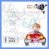 Vroum Vroum Peter and sentiment digital stamps