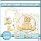 Beary Best Teacher Female Square Card