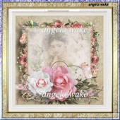 memory rose 7.5x 7.5 card with decoupage