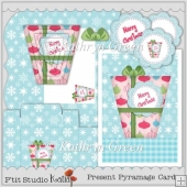 Pretty 5x7 Pyramage Christmas Card with Envelope and Gift Box