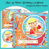 Men At Work Birthday Cardfront with Decoupage
