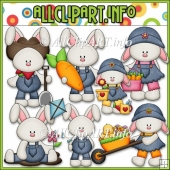Everyday Bunnies Commercial Use Clip Art