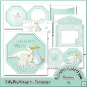 Baby Boy ~ Hexagon with Decoupage