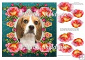 "Beagle Puppy Dog & Roses - 8"" x 8"" Card Topper + Decoupage"