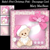 Baby's First Christmas Pink - Decoupage Card