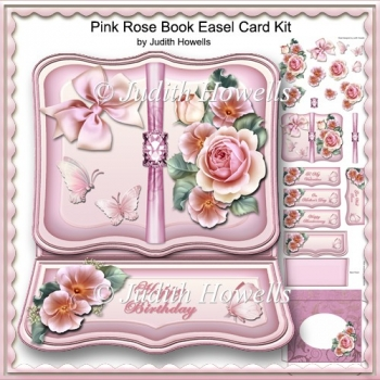 Pink Rose Book Easel Card Kit