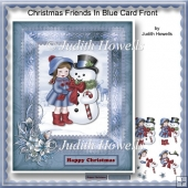 Christmas Friends In Blue Card Front
