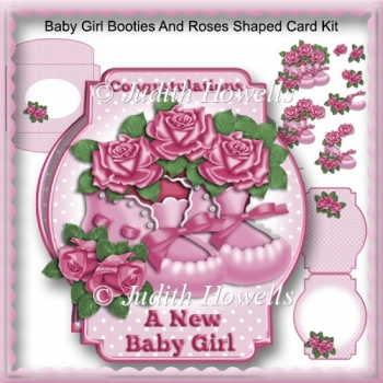 Baby Girl Booties And Roses Shaped Card Kit