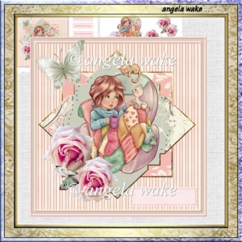 Be comfy 7x7 card with decoupage