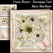 Cream Flowers - Decoupage Card