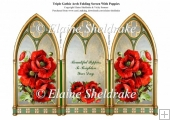 Triple Gothic Arch Folding Screen With Californian Poppies